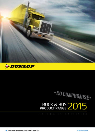 truck travelling towards you, Dunlop, Sumitomo, truck and bus brochure logo's